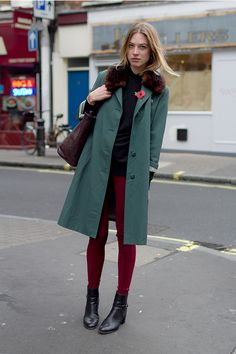 Coggles street style. Green and raspberry, lovely colour combination.