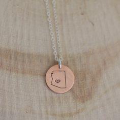 Arizona State Hand Stamped Necklace Arizona Circle Pendant