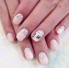 Super cute idea for wedding nails!