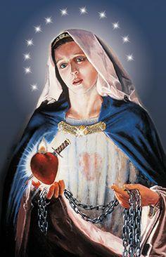 "Queen of the Slaves of the Immaculate Heart of Mary! Our Heavenly Mother presents us with the chains of holy slavery ""to Jesus through Mary."" Unique painting by Matthew Brooks in Immaculate Heart of Mary Chapel, Still River MA."