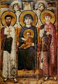 """Virgin and Child With Angels and Saints George and Theodore, circa 600. Anonymous, encaustic icon on panel  in the Russian Style  --  St. Catherine, South Sinai, Egypt. Byzantine"