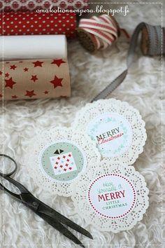 Pakettikortti joulukortti kakkupaperi, blogista Oma koti onnenpesä