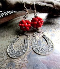 OOAK Earrings Vintage Silver and Coral Red by DeborahGarnerDesign.  Received these as a gift for my birthday today.  Love them!