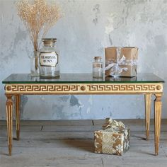 greek key coffee table with mercury glass top! Room For Improvement, Reproduction Furniture, Vintage Table, Vintage Coffee, Colouring Pics, Minimalist Home Decor, Greek Key, Colorful Furniture, Table Furniture