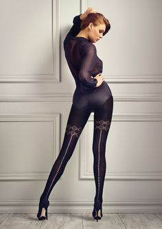 Very soft cotton blend tights with perforated back-seam and mock thigh-high pattern. Design by Patricia Gucci. Wool Tights, Cotton Tights, Lace Tights, Sweater Tights, Nylons, Black Pantyhose, Pantyhose Lovers, Lise Charmel, Gucci