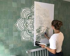 Mandala wall stencils DIY for home of work place decor. Mandala Ibiza wall stencils to pimp your home, garden, office, shop, restaurant or club! We have 8 different mandalas in different sizes from which you can choose! Mandala Art, Stencils Mandala, Mandala On Wall, Tape Painting, Painted Trays, Wall Drawing, Paint Designs, Diy Wall, Wall Design