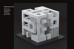 """An architectural student design project that demonstrates a balanced reciprocity of solid and void (positive/negative space). The design uses """"seed shapes"""" that are combined to form a 10 inch square cube. The design should display a balance of solid and void of each side, and of the overall design..."""
