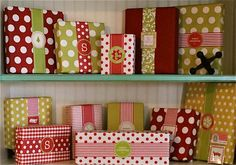 No more bows!!! Love this look for Christmas wrapping. - Love the monogram letters -