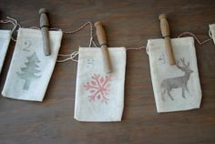 Advent Calendar: Set of 25 Muslin Bags with Hand-stamped Numbers, Snowflakes, Deer, and Trees. Custom Options Available. Natural Christmas, Winter Christmas, Christmas Time, Christmas Crafts, Christmas Decorations, Merry Christmas, Custom Calendar, Muslin Bags, Christmas Inspiration