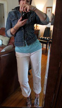 Aqua top, white jeans, short denim jacket