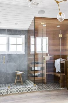 The bathroom sauna is growing trend in bathroom design that instantly creates a spa-like retreat in your home. Take a look at how these three designers incorporated a sauna into their bathroom design. Bathroom Trends, Bathroom Interior, Bathroom Ideas, Bathroom Inspo, Bathroom Organization, Bad Inspiration, Bathroom Inspiration, Interior Inspiration, Modern Room