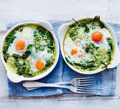 This five-ingredient breakfast or brunch with spinach, pesto and bubbling melted cheese can be on the table in 15 minutes