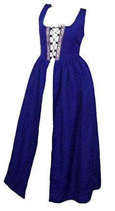 Faire Lady Designs Womens Renaissance Costume Irish Over Dress Blue Large  Bust 41 44  Waist 36 40