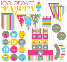 Ice Cream Party PRINTABLE Full Birthday Party from by lovetheday, $45.00
