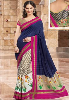 An alluring Blue & Cream Color Madhubani SilK Designer saree showcasing Floral printed motifs and brilliantly contrasting Fuschia Pink border with zari