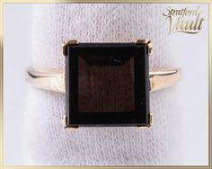 Metal: 10K Yellow Gold Gem: 10.0 x 10.0 mm Genuine Smokey Quartz Setting: Claw Set Period: Vintage (1980s) Total Set Weight: 4.0 grams Markings: 10K Size: 8.25 (can be sized between 6.0 an 10.0)  Estimated Retail Replacement Value: $600.00 CAD We offer an eclectic range of Estate and Private Collection Jewellery at a fraction of appraised RETAIL value. Our items are buffed as new and are guaranteed in new condition unless otherwise specified. All orders are shipped same day or next day. We…