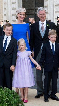 King Philippe and Queen Mathilde arrived at the wedding in Rome with three of their four children.