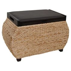 Crafted with woven seagrass and rattan, this breezy storage ottoman is perfect for keeping those little messes-like shoes, stacks of magazines, or spare pill...