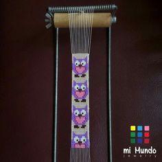 Purple owl miyuki bracelet designed and made by mi mundo jewelry Loom Bracelet Patterns, Bead Loom Bracelets, Bead Loom Patterns, Bracelet Designs, Beading Patterns, Beading Ideas, Owl Bracelet, Jewelry Patterns, Bead Jewellery