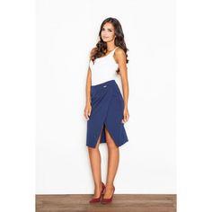 Elegantní dámská sukně v modré barvě - manozo.cz Waist Skirt, Midi Skirt, High Waisted Skirt, Skirts, Pants, Dresses, Women, Fashion, Self