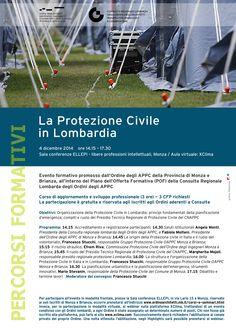 """locandina/programma """"La Protezione Civile in Lombardia"""", evento formativo promosso dall'OAPPC di Monza e Brianza e dalla Consulta - progetto grafico: Redazione di AL"""