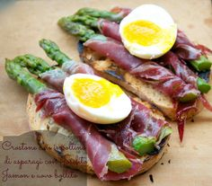 croton with wrapped asparagus and soft-boiled egg