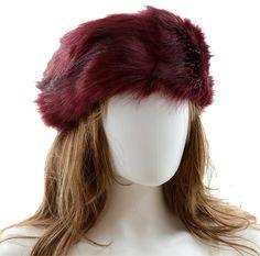b333147ba9e Warm Chic Burgundy Fur Winter Hat Headband Earmuff. Free shipping and  guaranteed authenticity on Warm