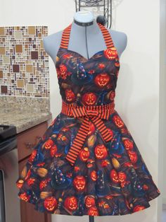 Limited Edition- Sexy Halloween Apron- Sweetheart style Full of Flounce and Twirl-Boo Bellknobs & Broomsticks