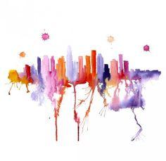 watercolor, city, skyline
