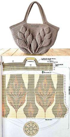 Make And Profit: 26 Crochet Bag Models With Graphic Ro .-Faça E Lucre: 26 Modelos De Bolsa De Crochê Com Gráfico – Ron Make And Profit: 26 Crochet Bag Models With Graphics – Buzztmz Diy Crafts Hadido Buzztmz - Diy Crafts - hadido Crochet Leaves, Crochet Motifs, Crochet Tote, Crochet Handbags, Crochet Purses, Bead Crochet, Crochet Patterns, Crochet Stitches, Diy Crafts Crochet