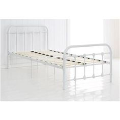 Vintage Style Metal Frame Single Bed - White
