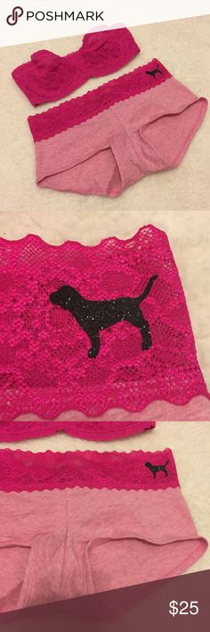 VS Hot Pink Lace Set! Super cute set! Cotton Lace waist shortie panty with black Sparkly dog logo! Bandeau strapless bra! Lacie style with unlined underwire cups! So sexy! Will fit a range of sizes. Best for 32AA-C. Panty size S.Brand new with tags! No holds or trades. Final price unless bundled! I only sell on posh :) IN600# PINK Victoria's Secret Intimates & Sleepwear