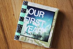 """Make a book out of Instagram pics detailing your first year of marriage, child's first year, friendship with a specific friend.. etc! She used map paper cut into 5"""" by 5"""" squares, art supply stickers, Lithco to bind papers together, Washi tape to spine, and an app called PostalPix to print out pics (choose and get mailed)!!"""