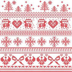 Scandinavian nordic xmas pattern with reindeer,rabbits, xmas trees, angels, bow in cross stitch