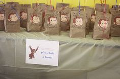 Curious George party favors... you could do this idea with any theme!