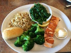 #Healthy eating at Perkins Restaurant & Bakery! Baked salmon brown rice and #veggies. #Foodie #FoodPic #nomnom #Seafood