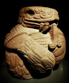 The Feathered Serpent symbolizes the cosmic Male energy of the Universe (Aztec art - Central America)