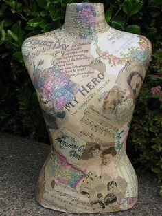 decoupage dress form  LOVE THIS ONE!!