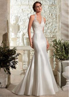 Buy discount Glamorous Tulle & Satin Halter Neckline Natural Waistline Mermaid Wedding Dress With Beaded Lace Appliques at Dressilyme.com