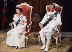 Queen Elizabeth II and Prince Phillip at the State Opening of Parliament in Wellington,New Zealand in During her Silver Jubilee tour, Queen Elizabeth II and husband Prince Philip, wearing sashes and Royal Orders. (Photo by Anwar Hussein/Getty Images) Hm The Queen, Her Majesty The Queen, Royal Queen, Elizabeth Philip, Queen Elizabeth Ii, Princess Elizabeth, Prinz Philip, Queen 90th Birthday, Happy Birthday