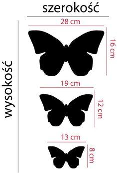 Szablon z tworzywa Trzy motyle :: NAKLEJKI • Szablony do malowania • dekoracje wnętrz • NAKLEJKI NA ŚCIANY