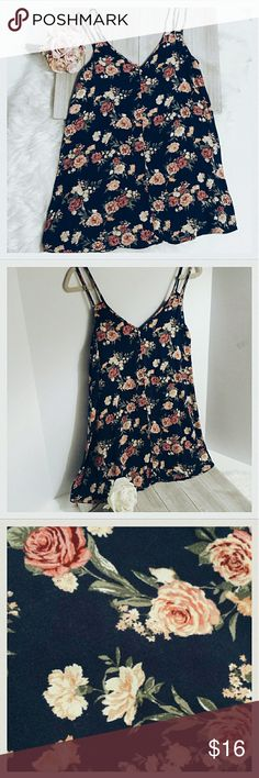 """Navy Floral Tank top Navy Floral Tank top size medium. Double straps each shoulder. Length: 29"""". Chest: (underarm to underarm front) 18"""". (Item #G34) Forever 21 Tops Tank Tops"""