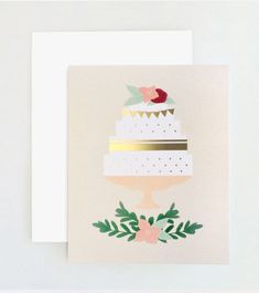Wedding Cake Card by OliveJude on Etsy, $4.25