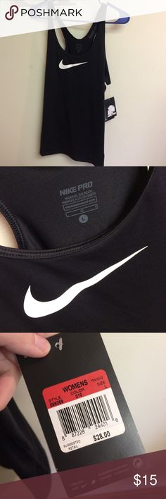 Black Nike tank top Black with white swoosh Nike tank top. Never worn! New with tags! Nike Tops Tank Tops
