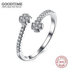 sterling-silver-jewelry 925 Silver Rings For Women Double Cross Zircon Ring Solid 925 Sterling Silver Classic fine bijoux GTR086