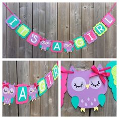 """IT'S A GIRL Owl banner, pink purple owl banner, baby shower decoration, pink purple green owl baby shower banner, gender reveal by lilcraftychickadee on Etsy <a href=""""https://www.etsy.com/ca/listing/483440699/its-a-girl-owl-banner-pink-purple-owl"""" rel=""""nofollow"""" target=""""_blank"""">www.etsy.com/...</a>"""