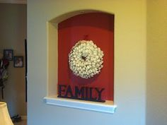 Painted the niche in the entryway gray inside. I never thought about painting our niche a contrasting color. Niche Decor, Hallway Decorating, Stencil Designs, My Dream Home, Entryway, Interior Design, Frame, Nooks, Hallways