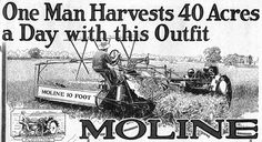 1918 ad: One Man Harvest 40 Acres a Day with this Outfit