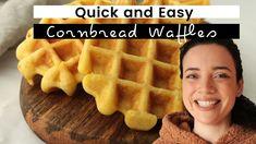how to make quick and easy cornbread waffles Cornbread Waffles, Gingerbread Pancakes, Waffle Recipes, Pinwheels, Homemade, Breakfast, Sweet, Easy, Food