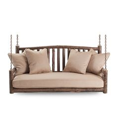 Porch Swing #1233 shown in Natural Finish (on Bark)